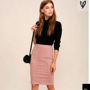 Lulus Superpower Blush faux suede pencil skirt